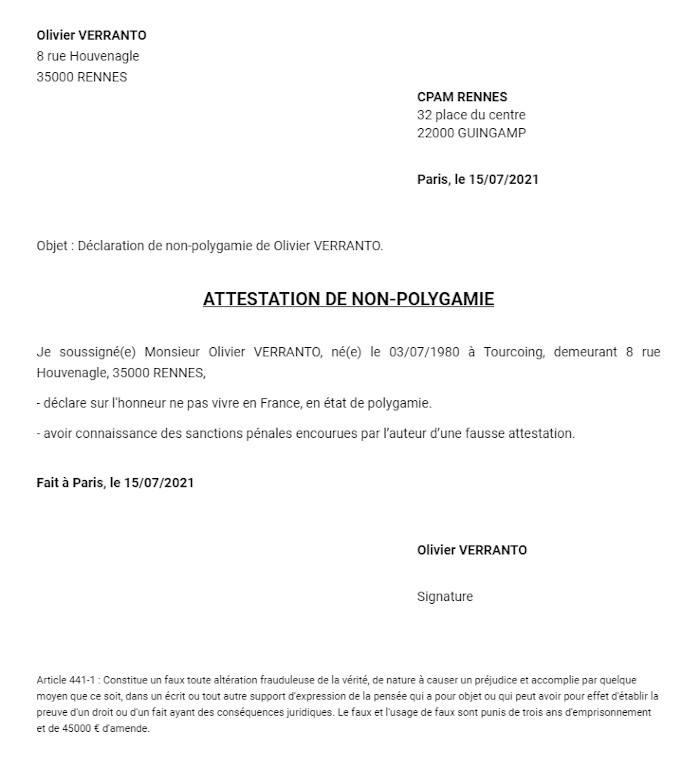 Attestation Sur L Honneur De Non Polygamie Modele Pdf Et Word