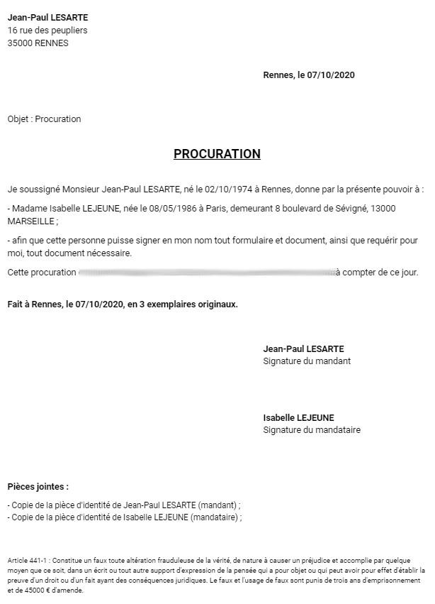 Lettre de procuration - Modèle PDF et Word à remplir